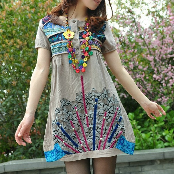 Ethnic Patchwork Beaded short sleeve dress