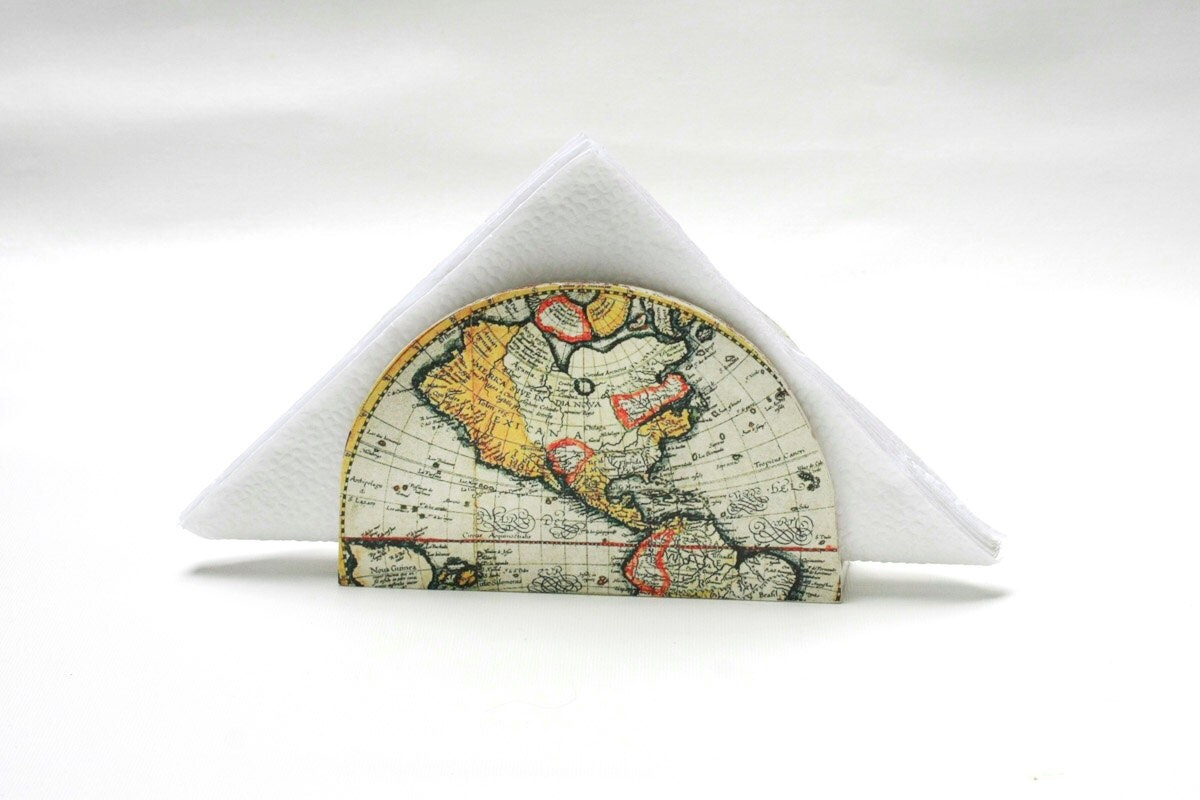 Antique Map Napkin holder, Golden  Napkin Box, Hostess gift, Decoupage Napkin Box, Vintage World map, Cottage chic,  Country