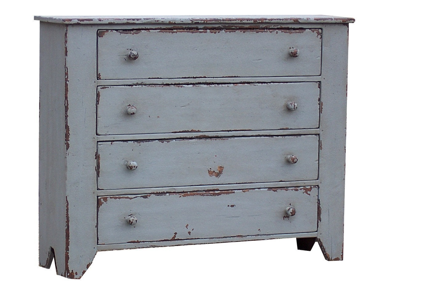 PRIMITIVE PAINTED COUNTRY CHEST OF DRAWERS DRESSER BUREAU REPRODUCTION STYLE FURNITURE