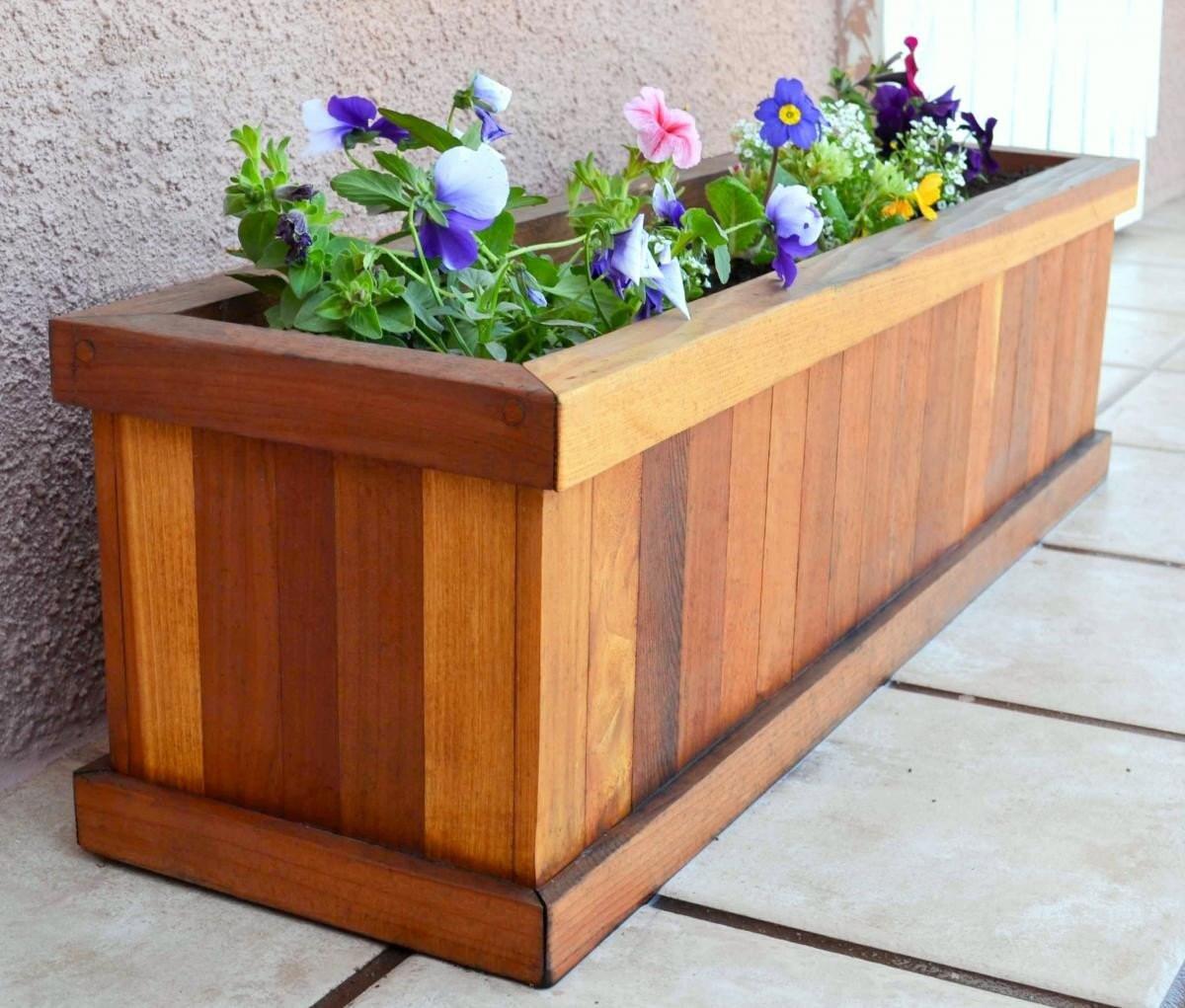 3ft Redwood Flower Planter Box For Windows By Redwoodgardens