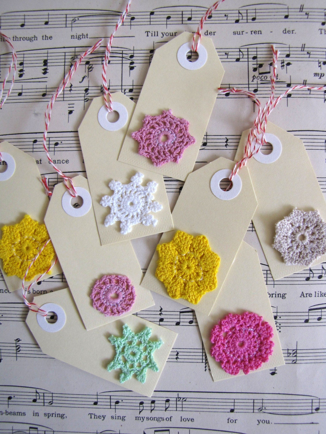 Doily GiftTags - mini swing tag set of 8 - hand dyed mini doilies
