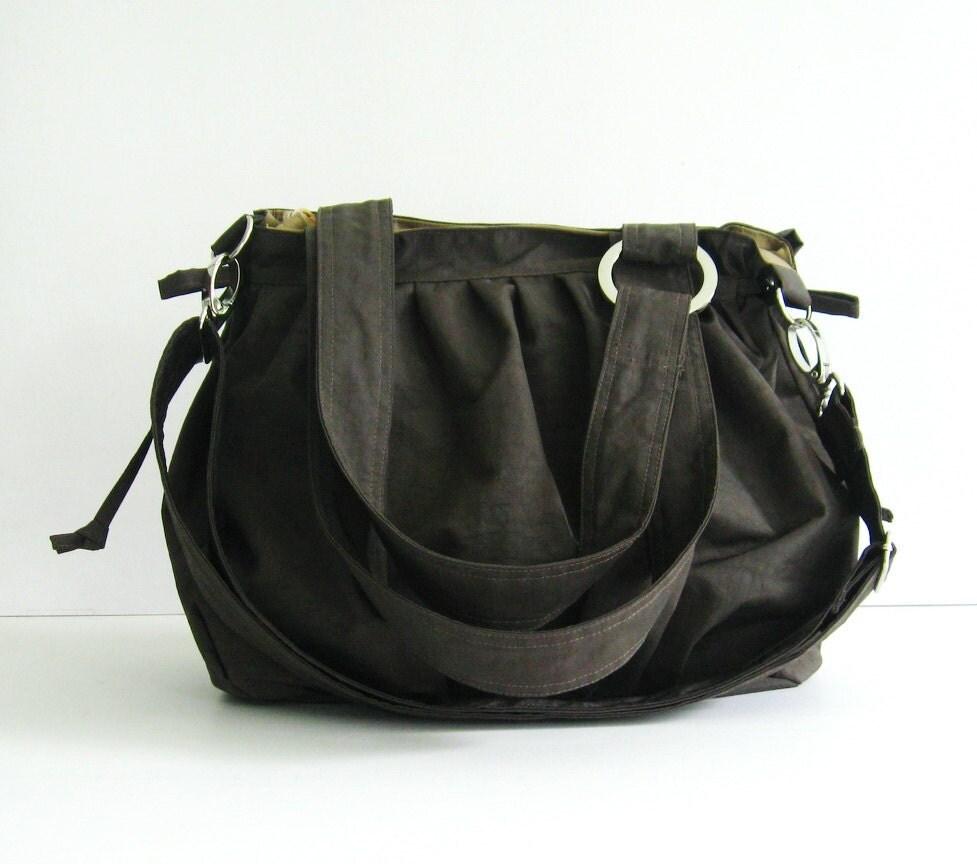 Water-Resistant Nylon Pumpkin Bag in Chocolate Brown