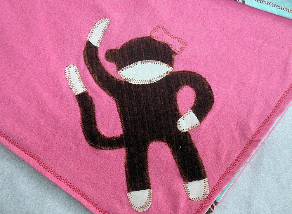 Girlie Pink Sock Monkey Blanket