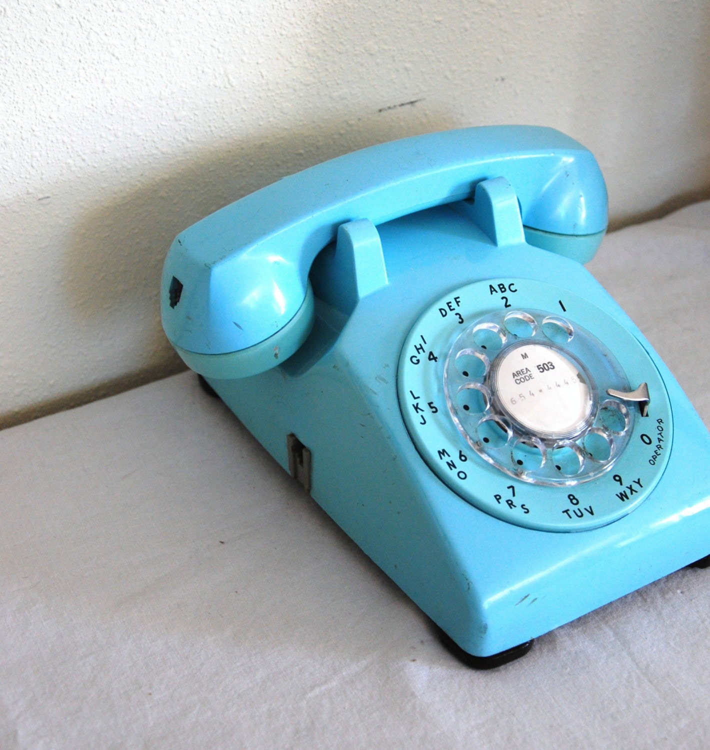 VINTAGE TURQUOISE ROTARY TELEPHONE For by AtomicFoxVintage