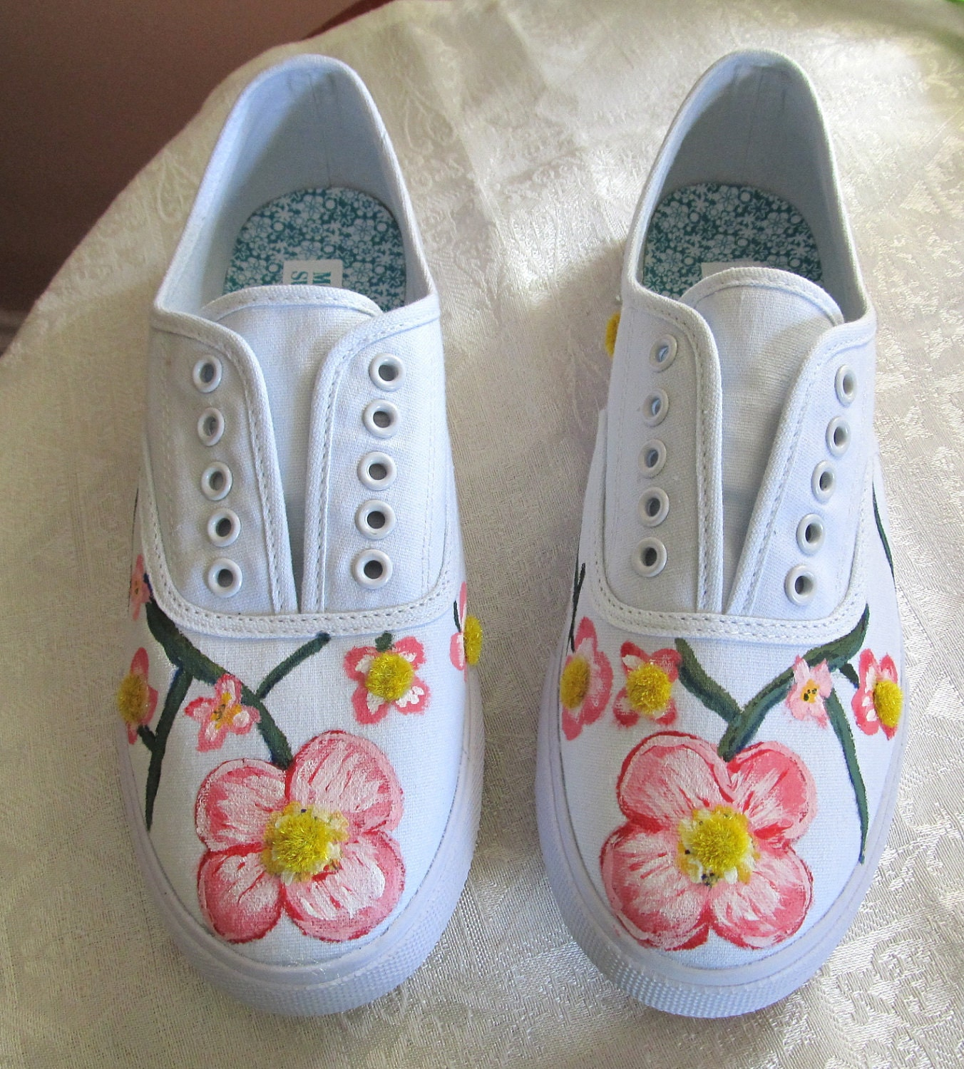 painted tennis shoes sneakers pink dogwood by betmatrho