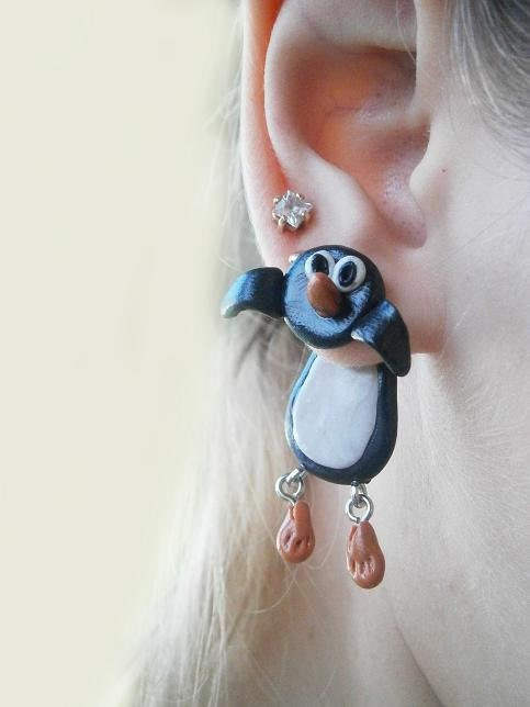 fake gauge plug two part earrings black penguin never give up , Polymerclay, handmade, серьги, сережки