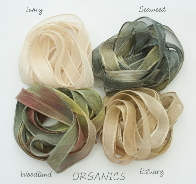 Four crinkle chiffon ribbons- one in each colourway - Ivory - a plain dyed ivory ribbon, Seaweed - sea greens with a little olive and gold , Estuary - pale sand tones with a little olive green and gold and Woodland - muted greens/oilve and brown.