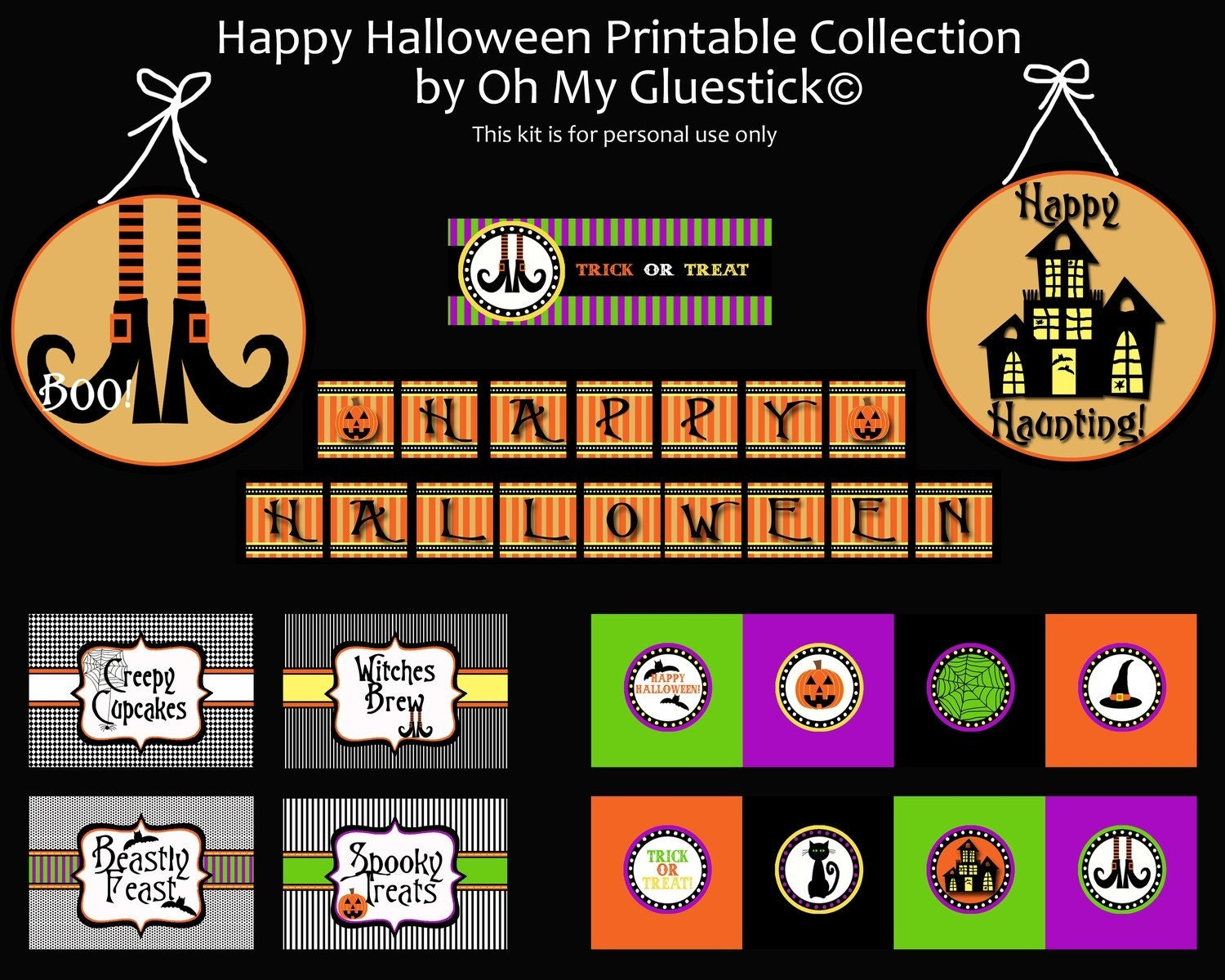Happy Halloween Printable Party Collection -On Sale through Sept 15-