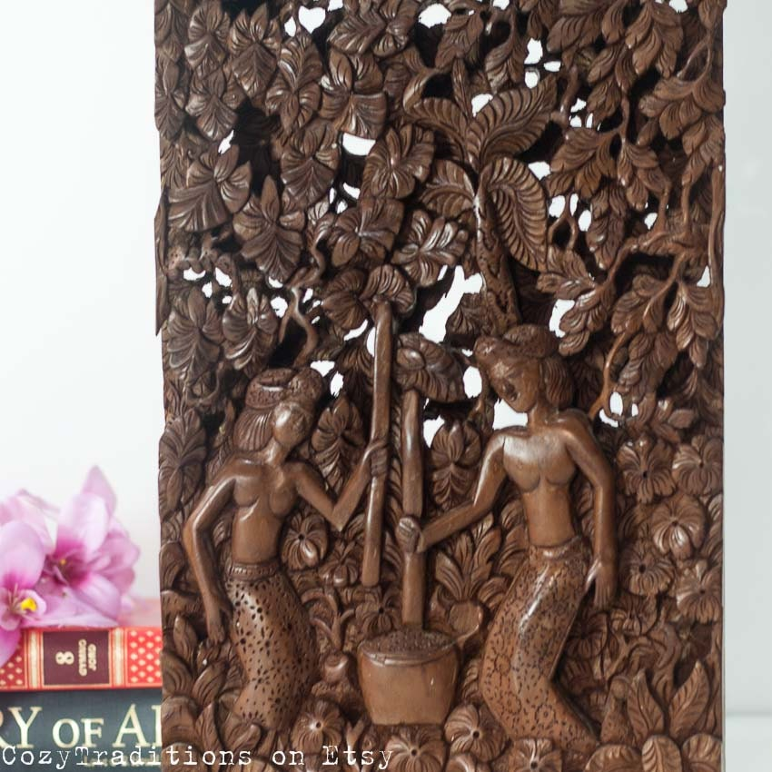 Wall hanging wooden panel vintage bali carved by