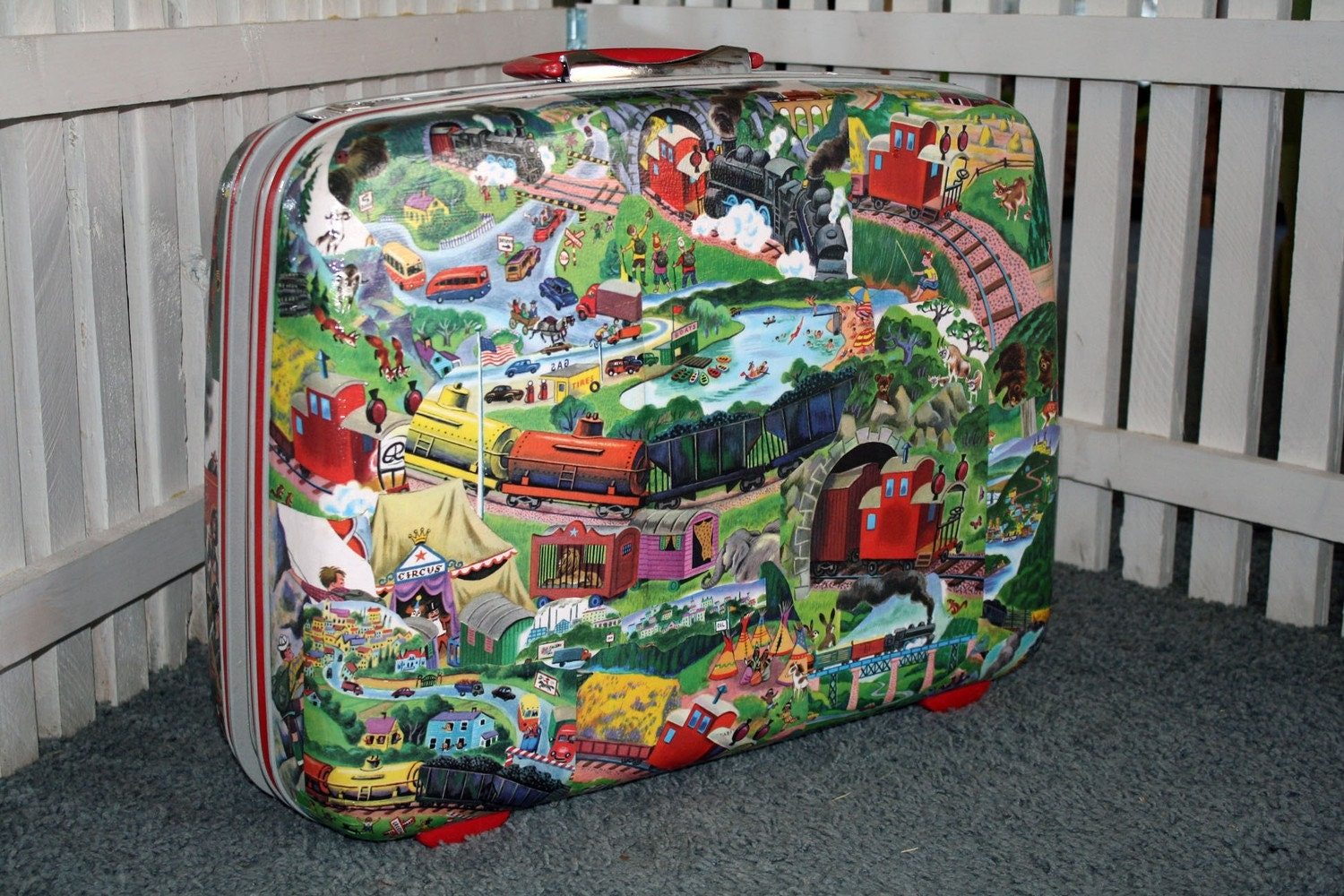 Vintage decoupage Child SUITCASE Firetruck train Little RED Caboose retro FREE Shipping