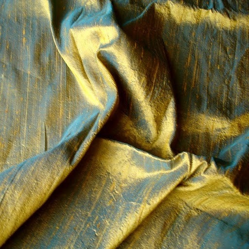 Turquoise And Gold Color 100 Percent Pure Silk Dupioni Fabric - 1 Yard - FabricMart