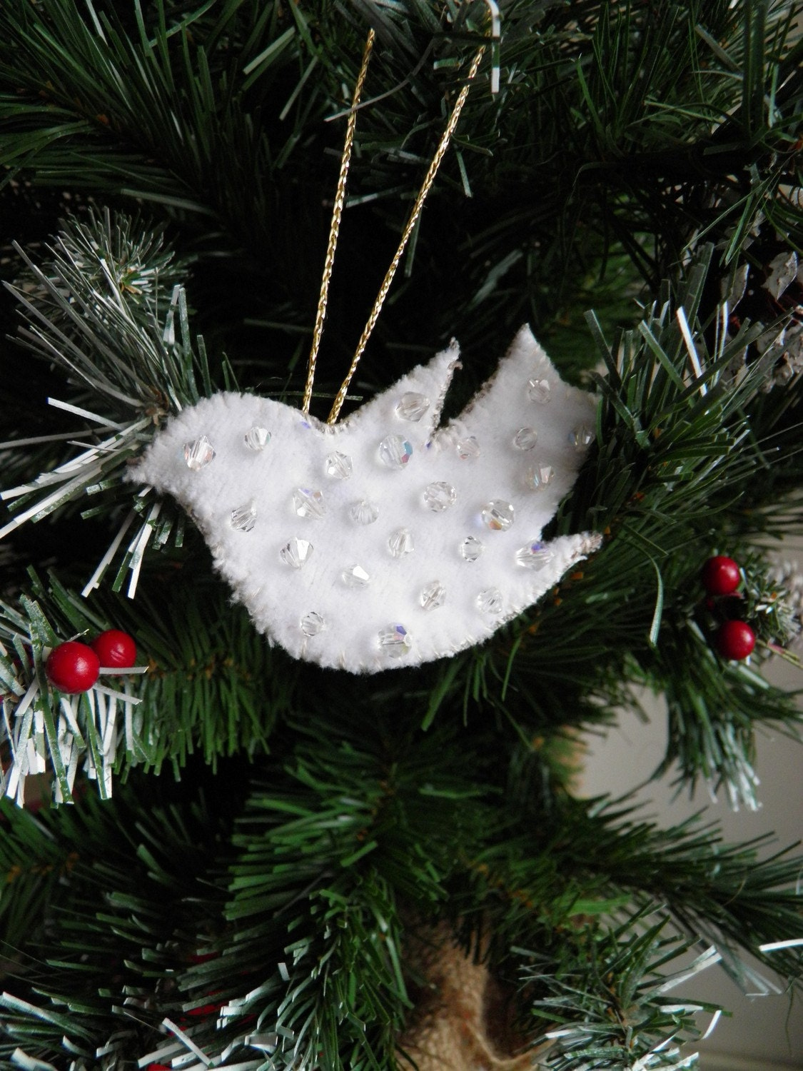 Upcycled fabric dove crystal tree ornament