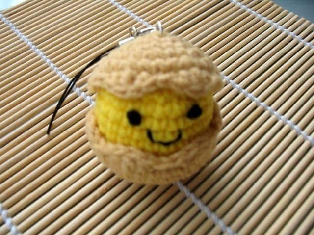 Crochet Cell Phone Charm - Chick in Egg Shell