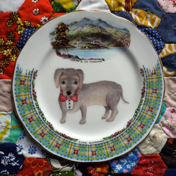 Scottish Dachshund Plate Vintage Illustrated Plate