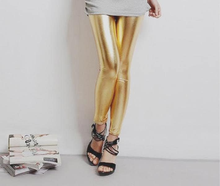 Gold Metallic Shinny Vintage Hipster Punk Rock Party Slim Fit Leggings Tights Pants Mid Waist One Size (LGN-051) - GenuinePeople