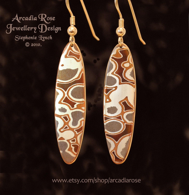 Mokume Gane Earrings: Mokume Gane Earrings, Sterling Silver Ear Hooks By Arcadia