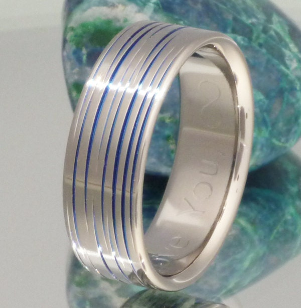 Blue Titanium Wedding Band Thin Blue Line by TitaniumRingsStudio