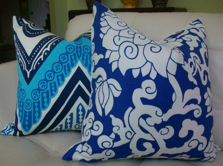 "Decorative Designer Pillow cover - 20X20 - Thomas Paul by Duralee - ""Blossom"" Abstract Floral in Indigo"