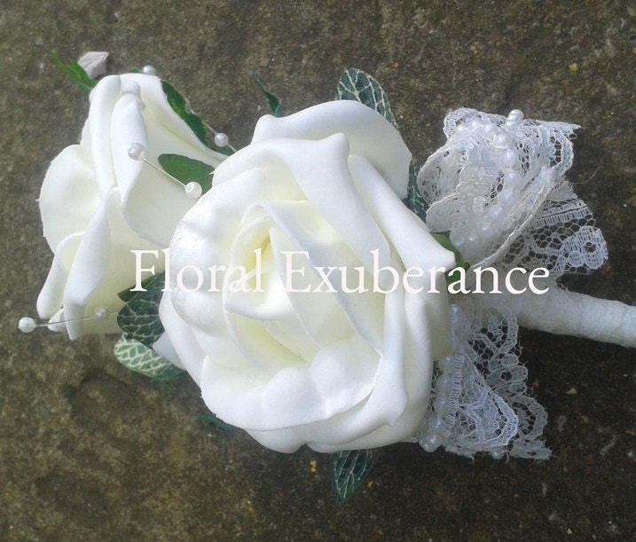 Artificial Ivory rose real touch wedding corsageboutonniere with lace wedding flowers ladies boutonierebuttonhole