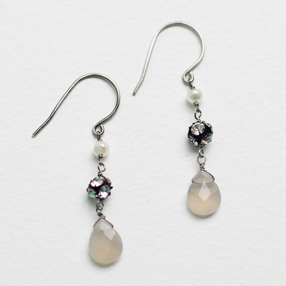 crystal earrings  .      sterling silver          .
