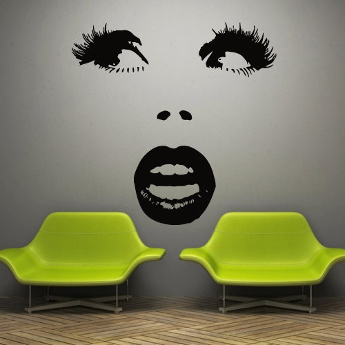 Wall decal decor decals art girl face lips sexy by