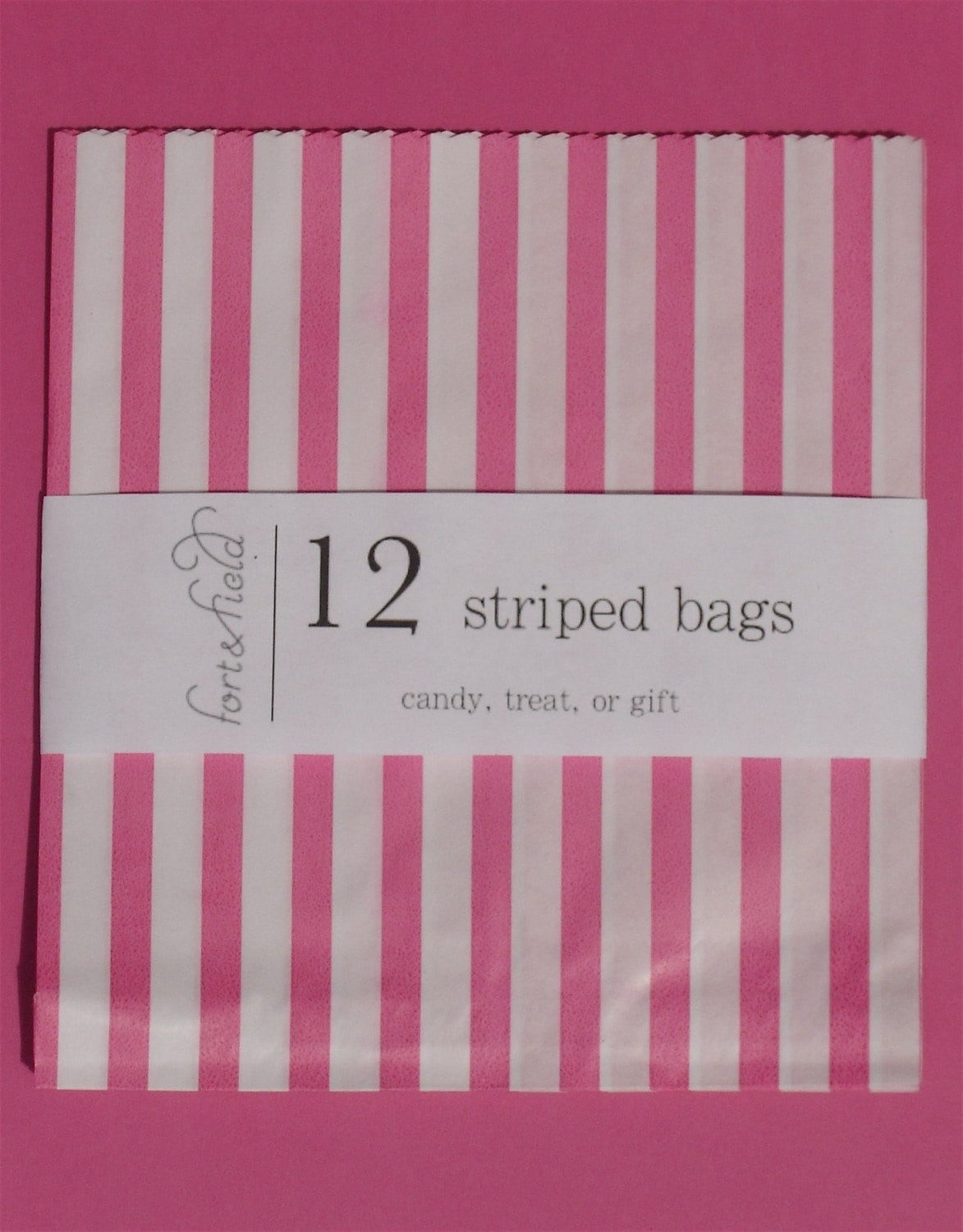 12 striped candy, treat, or gift bags - medium - 7 X 7 1/2 - pink/white