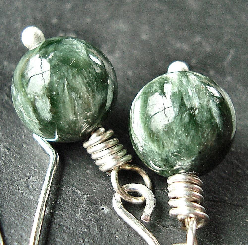 Forest Green Seraphinite Sterling Silver Dangle Earrings - Tornado