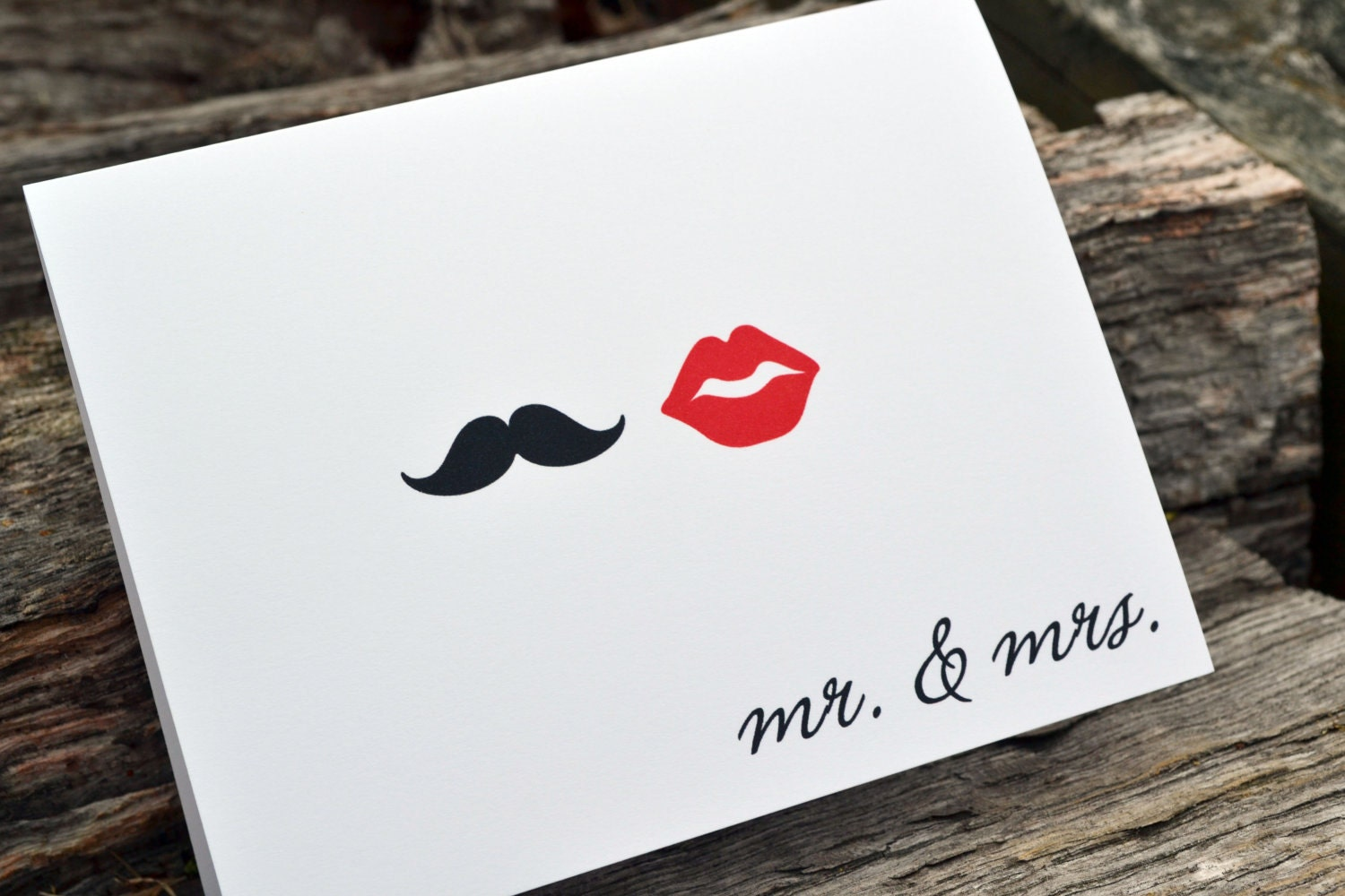 Mr. and Mrs. Mustache and Red Lips Set of Note Cards