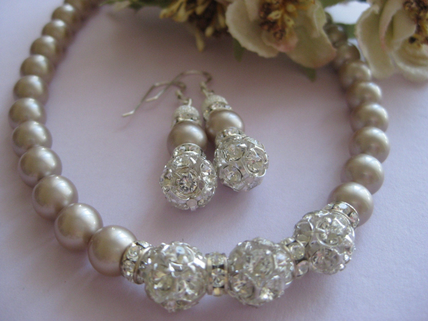 Necklace bridal set Swarovski Almond Pearls and Rhinestones Necklace and Earrings