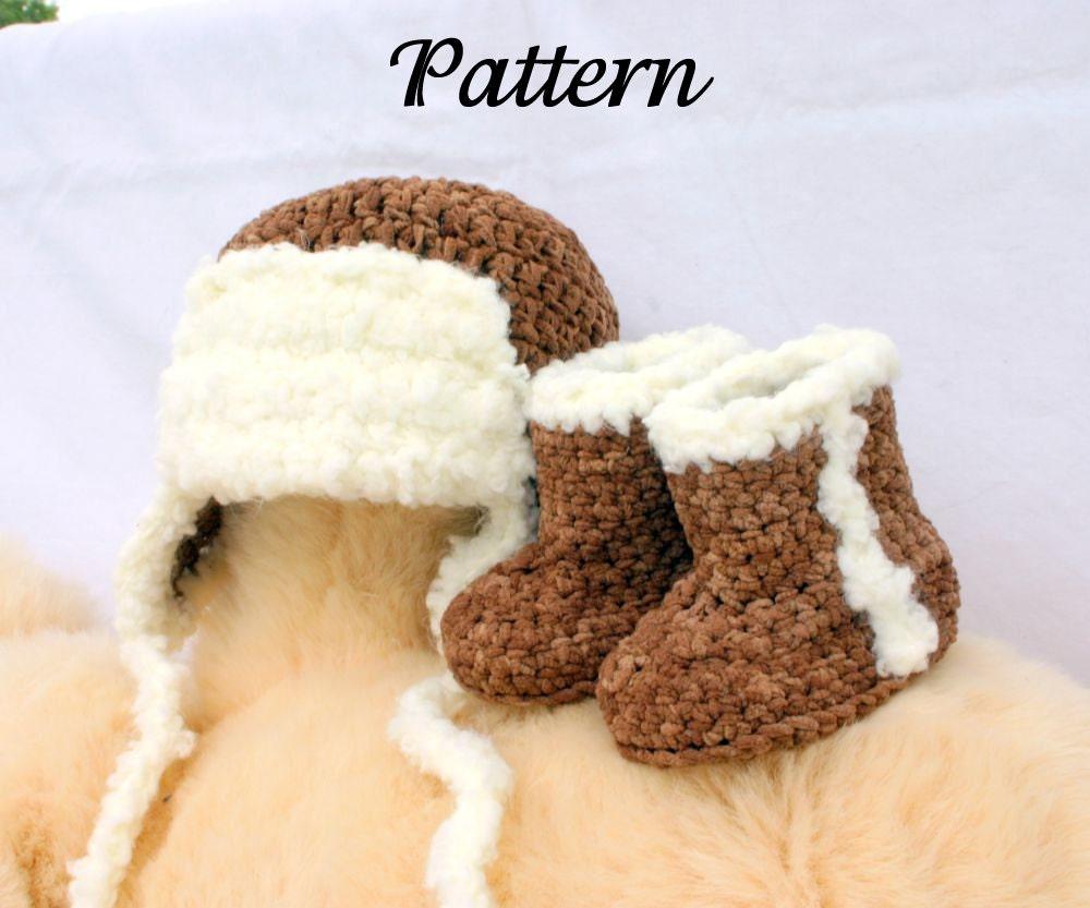 Baby aviator hat and boots PDF crochet by lovinghandscrochet