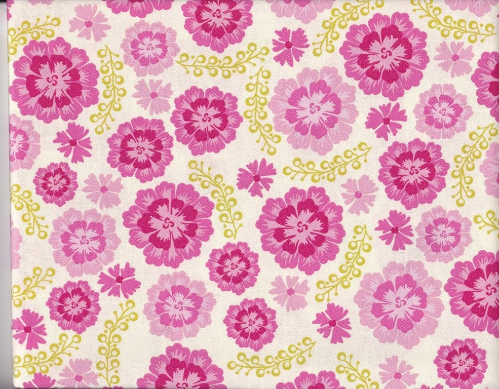 1 yd Michael Miller Sandi Henderson Farmers Market Pink Medallion Bloom fabric Out Of Print