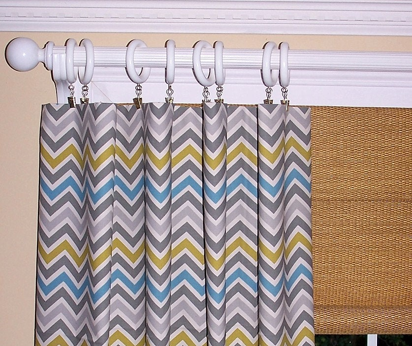 Yellow chevron curtains summerland flowers by cathyscustompillows
