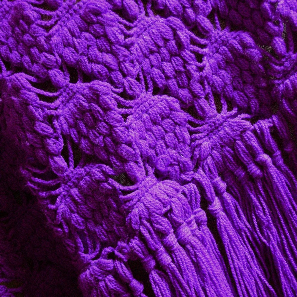 Psychedelic Purple 1970s shawl - extreme purple with Grape stitch