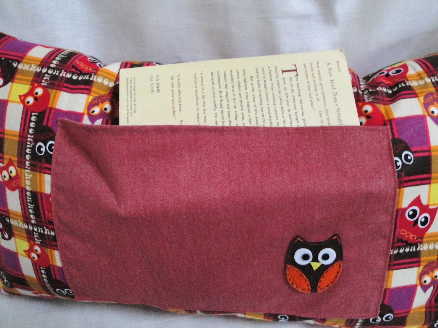 Owl pillow with pocket for book, journal- One of a kind owl themed throw pillow