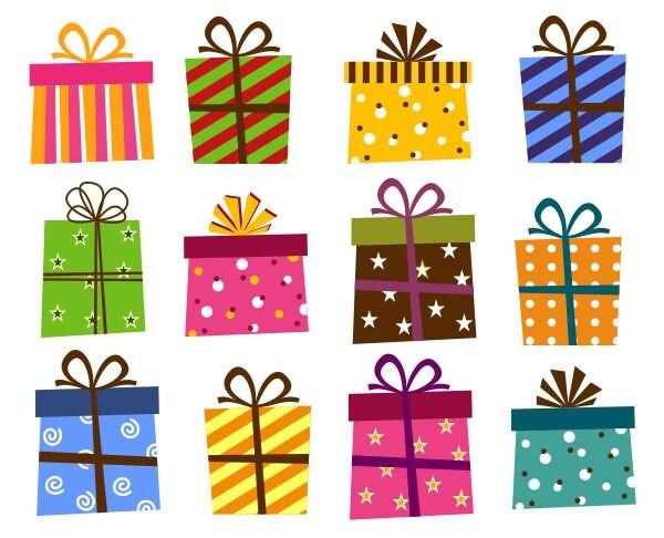 Giftbox Clip Art, Present Boxes Clip Art, Instant Download, Birthday ...