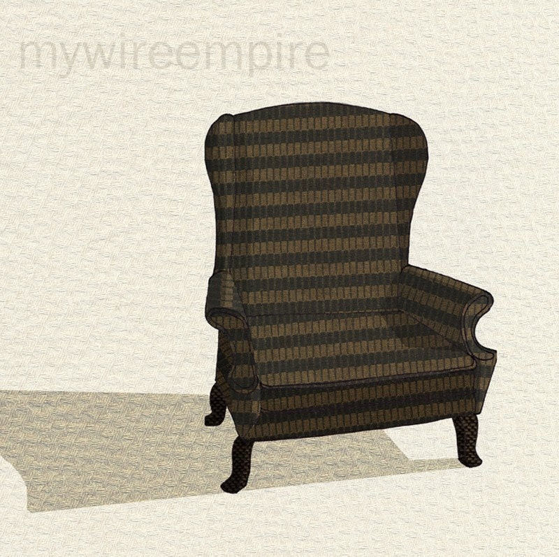 wingback chair 1 (striped) - print