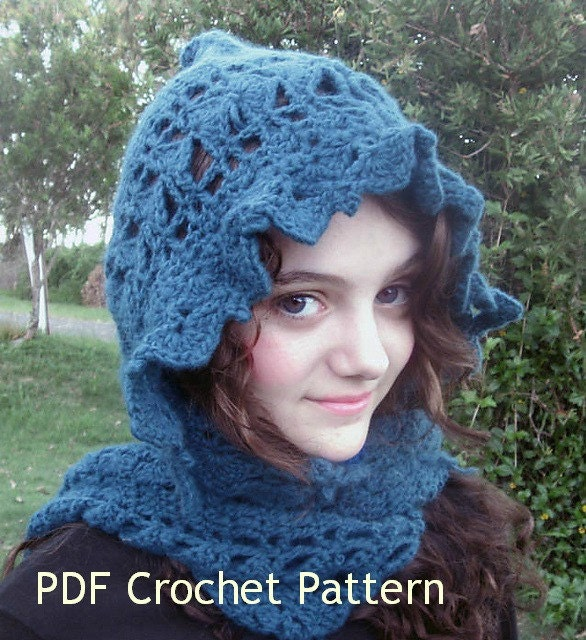 Crochet Patterns Hooded Scarf : Crochet Pattern. Scarf hooded Laila instant by SarahsShoppe
