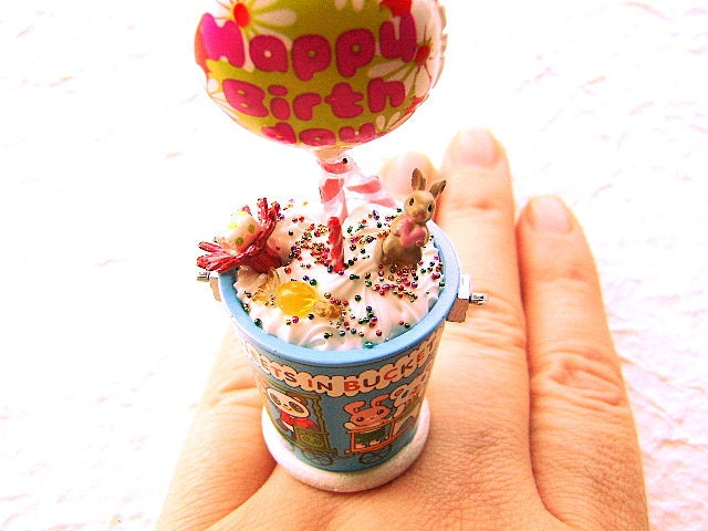 Happy Birthday Bunny Balloon Ring via @etsy