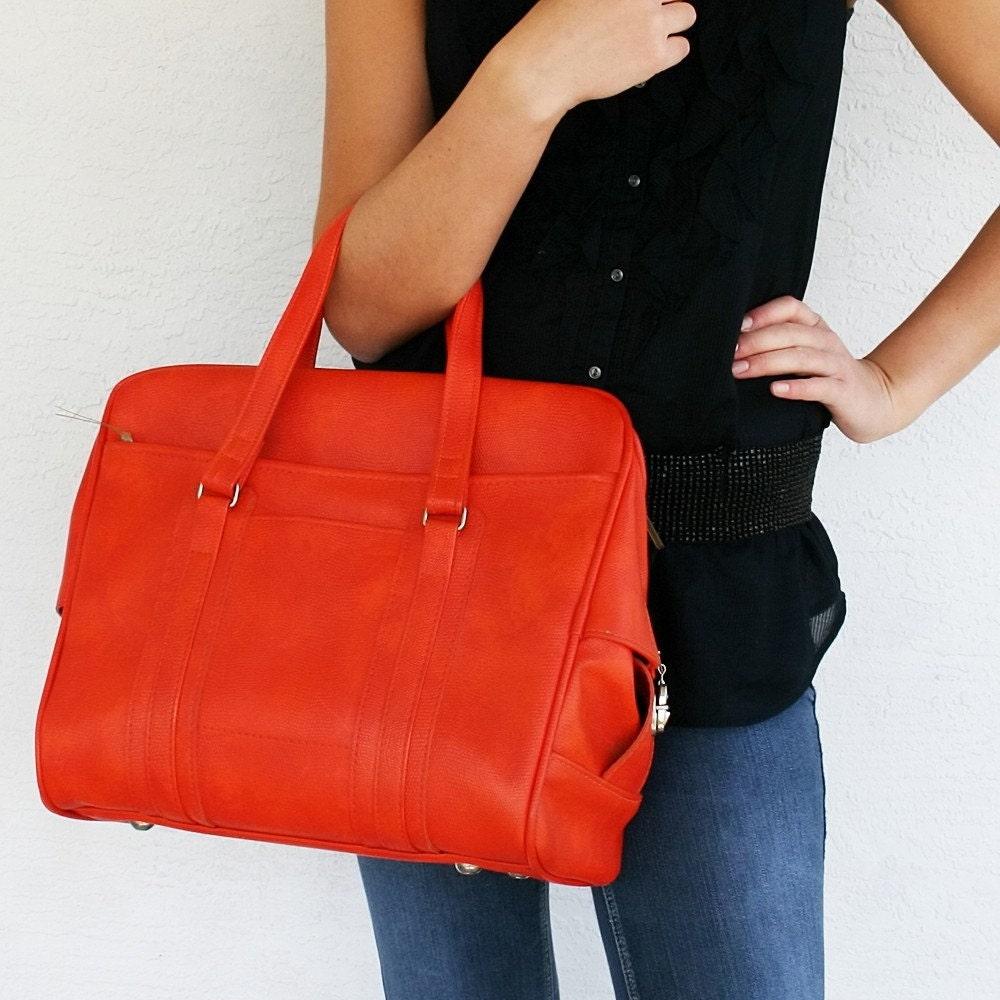 VINTAGE Orange Mottled TOTE Bag Pick Your PoisonLuggage Red