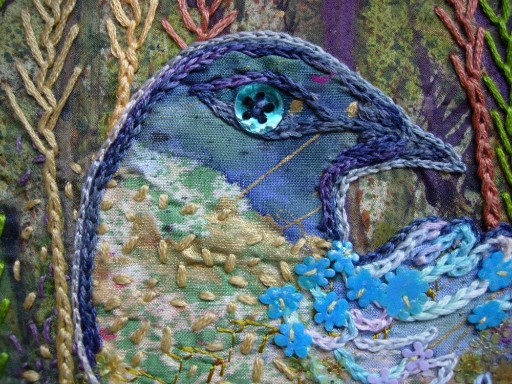 Underbrush Bird Original Embroidered Silk Painting Textile Art