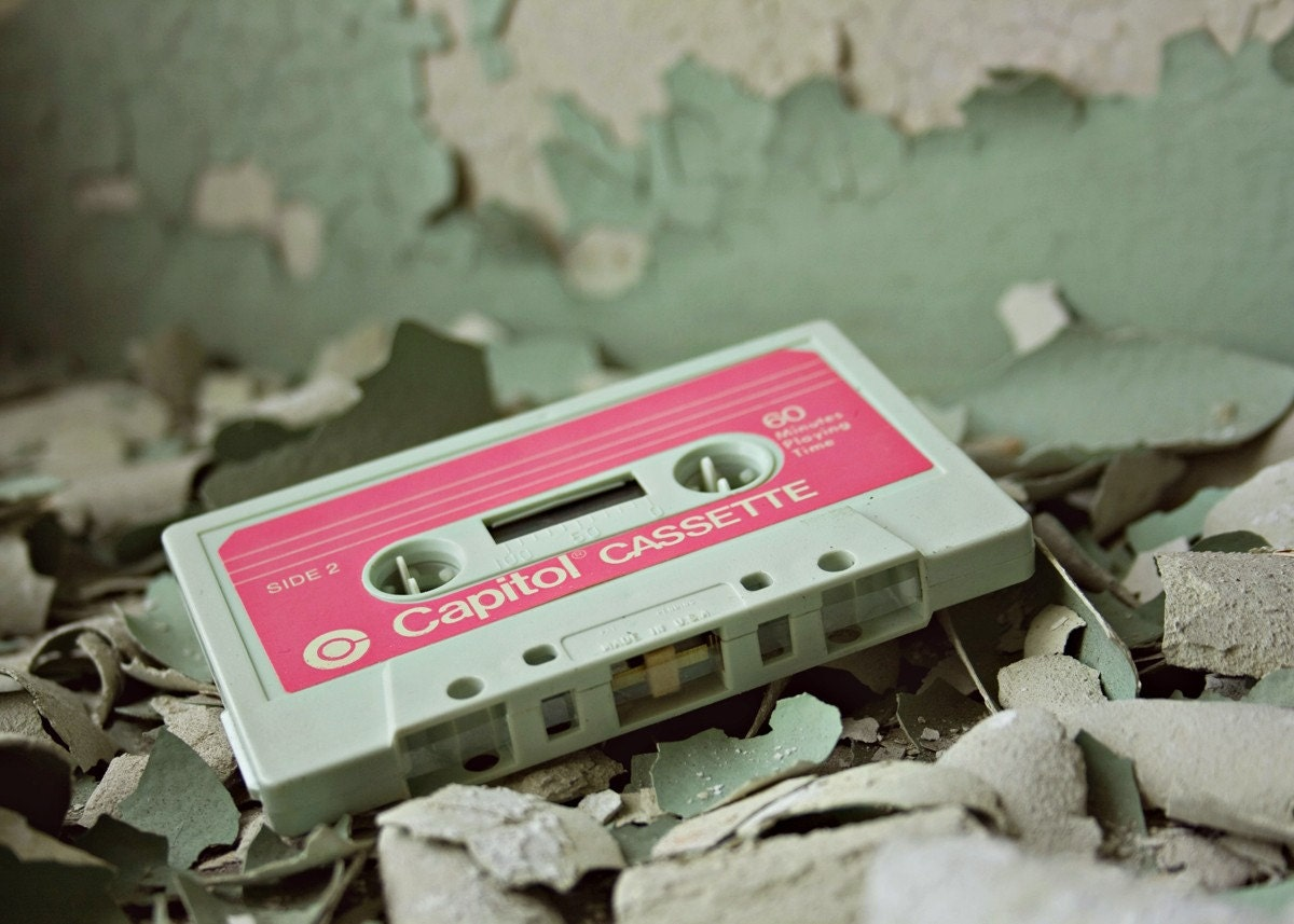 Old School - 5x7 Fine Art Photography Print - urban decay abandoned cassette mix tape pink mint green seafoam photograph Detroit - riotjane