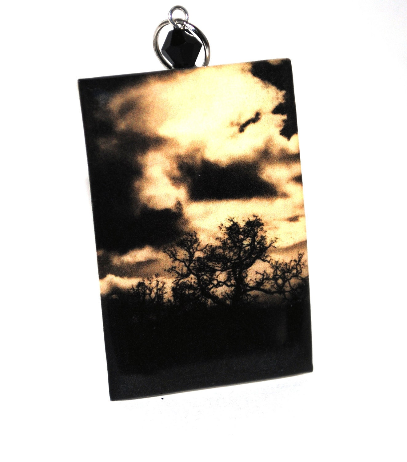 Trees.  Clouds.  Sunset Necklace.  Sunshine on a cloudy day.