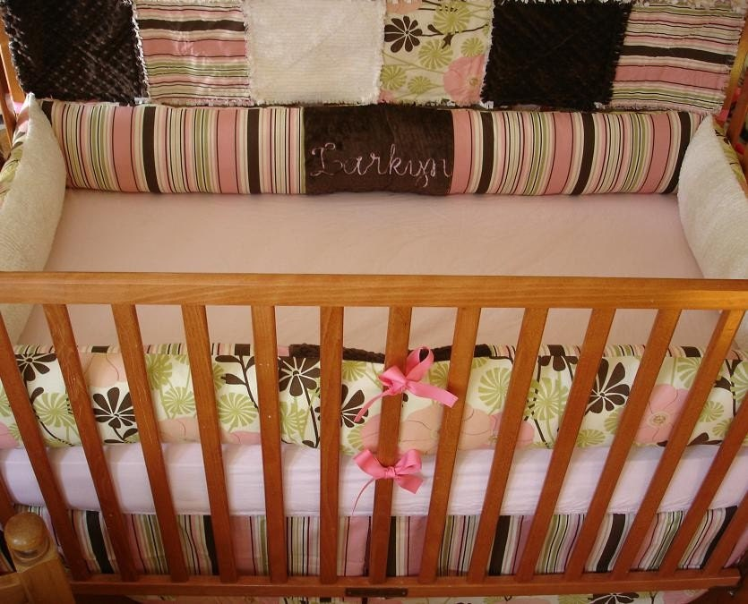 Custom Pink Brown Green City Girl Baby Crib by mellissasboutique