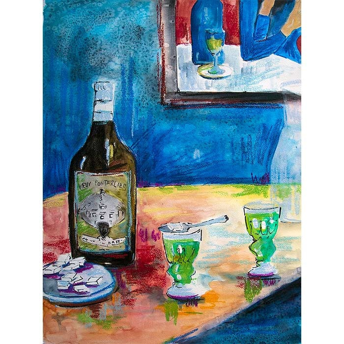 Absinthe for Two French Beverage Still life Original painting Large 18 by 24 inch by Ginette