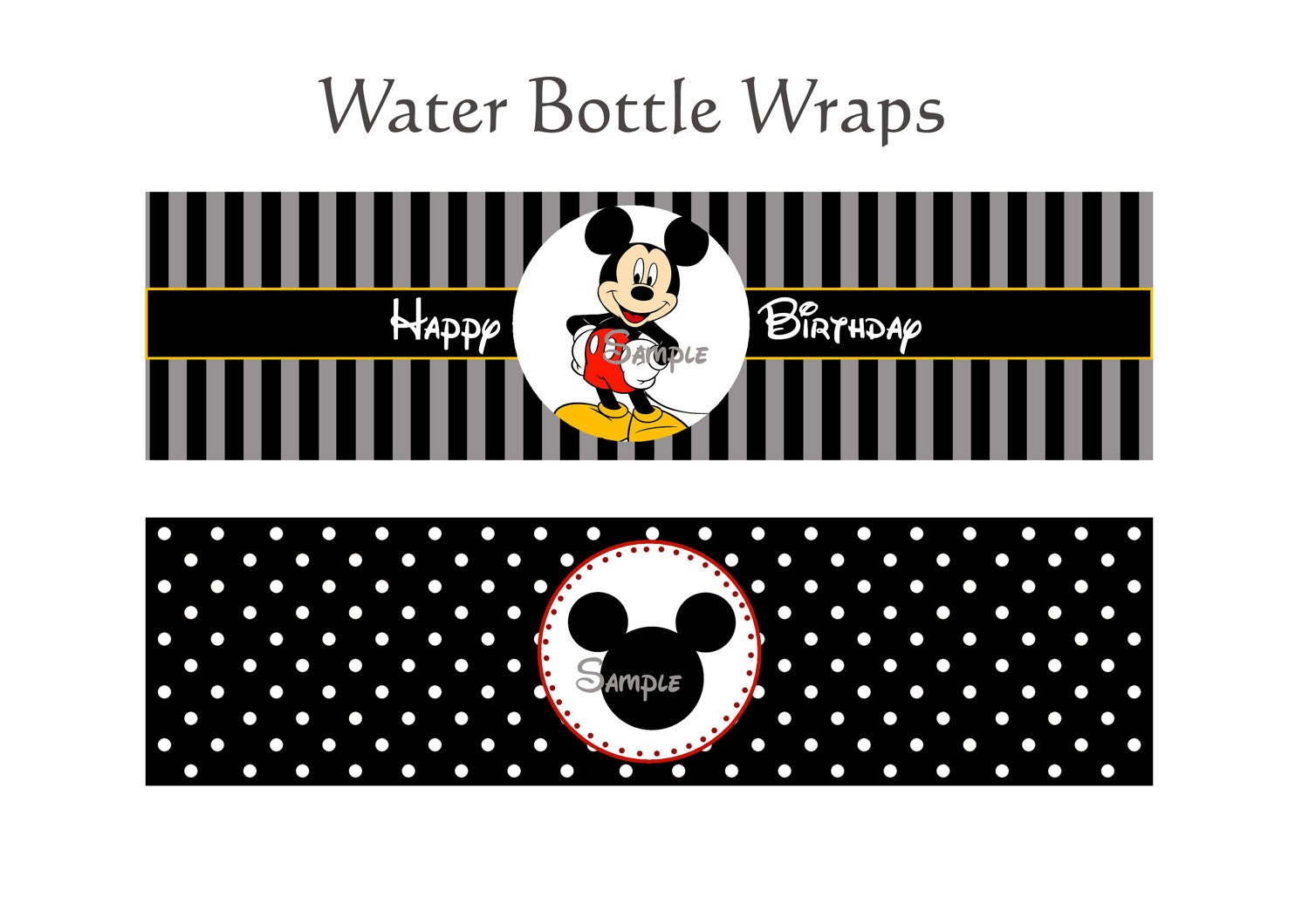 Mickey mouse Printable Water Bottle Wrappers by jiidashop on Etsy