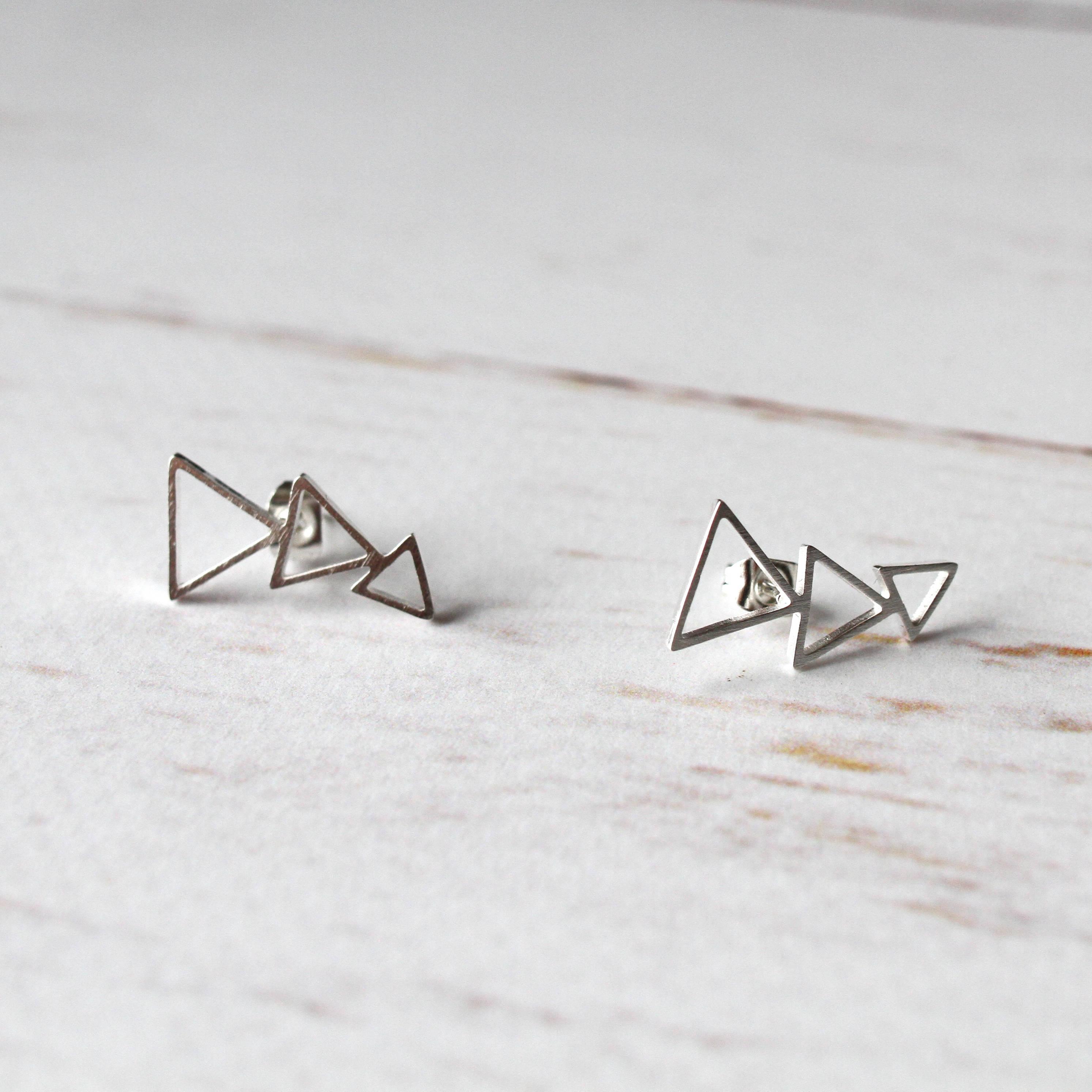 Triangle Ear Climber Silver tone Geometric Earring   Triangle ear crawlers jewellery