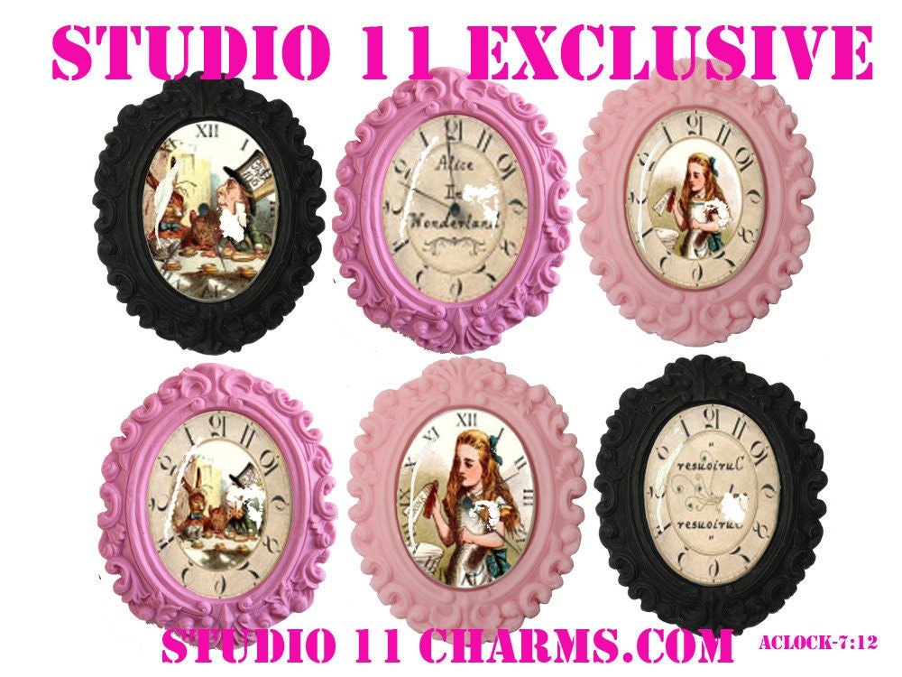 6 pcs. (40x30mm oval) Alice in Wonderland Backward Clock Cameo Cabochons Pendant Charms. Vintage Inspired. A-7:12