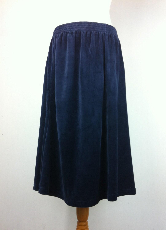 sale vintage blue velvet skirt a line uk 18 by
