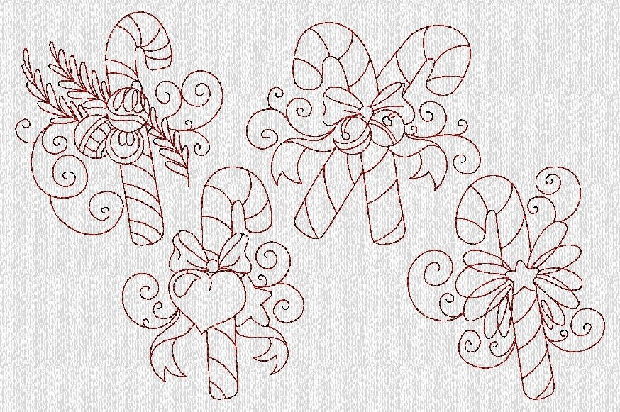 INSTANT DOWNLOAD Vintage Redwork Christmas Candy By Embroiderygirl