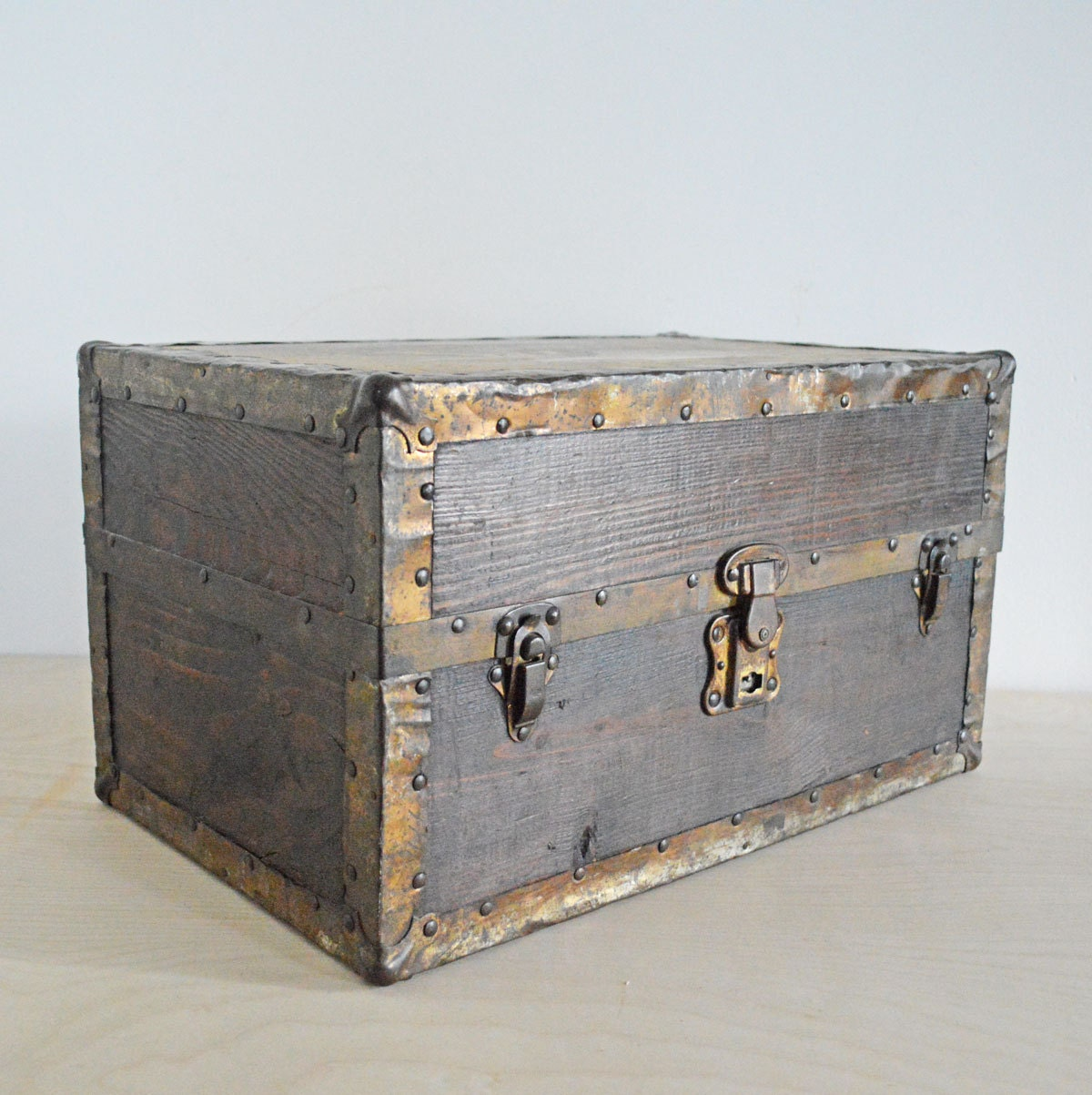 Toy Box Large Solid Wood Storage Chest Trunk Playroom: Vintage Wood Storage Box Toy Chest Wooden Case 18 By Mothrasue